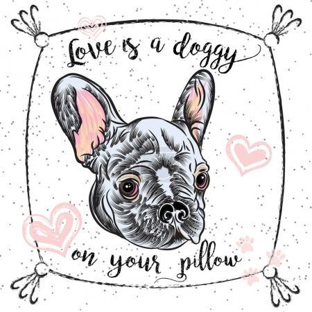French Bulldog drawing poster