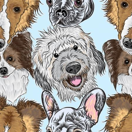 Seamless pattern with portrait dogs