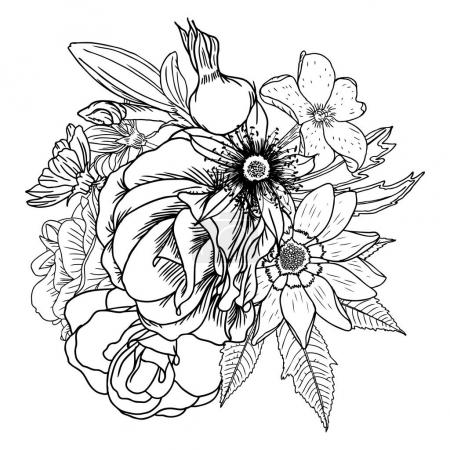 Bouquet of hand drawn flowers