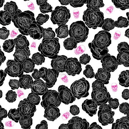 Roses bloom with skulls seamless pattern