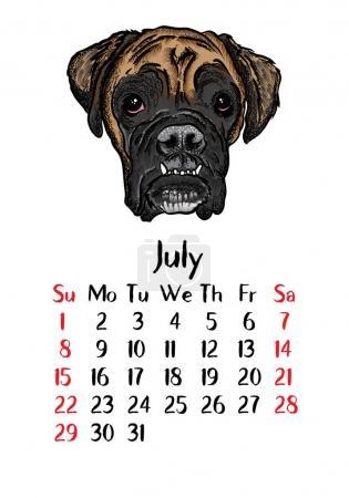 Funny happy dogs calendar 2018 design