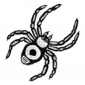 Insect stipple drawing Halloween decorative spider isolated Spider in trendy embroidery stippling and hatching shading style Vector