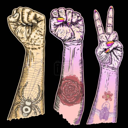 Set of hand signs and symbols