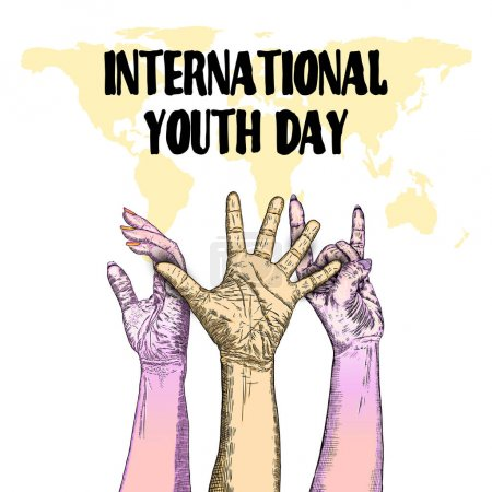 Illustration for International Youth day design on annual 12 August celebration. Hand drawn sketch concept. Design of friendship day. Friends day. Vector. - Royalty Free Image