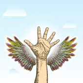 Volunteering hand raised with angel wings on blue sky background