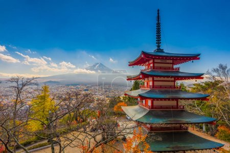 Chureito Pagoda with Fuji San background