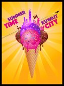 Summer Time In Kuwait City - Melting Ice Cream City Silhouettes
