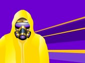 A Man Wearing An Yellow Biohazard Suit And Gas Mask