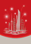 Happy National Day Kuwait Towers Skyline Red Poster
