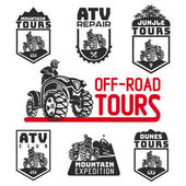 Set of ATV vehicle logo and emblems All-terrain 4x4 quad illustration