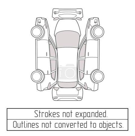 Illustration pour Voiture suv nspectoin forme dessin contour coups pas élargi - image libre de droit