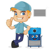HVAC Technician leaning on cleaning machine