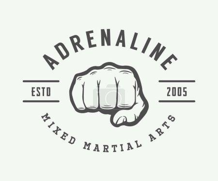 Vintage mixed martial arts logo, badge or emblem.