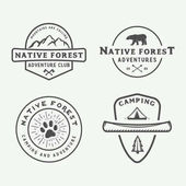 Set of vintage camping outdoor and adventure logos badges