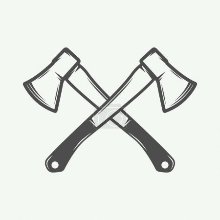 Illustration for Vintage cross axes in retro style. Can be used for logo, emblem, badge, label, stamp or mark. Monochrome graphic Art. Vector Illustration. - Royalty Free Image