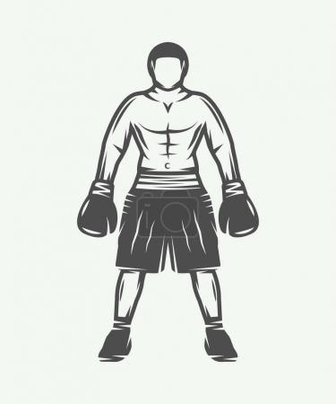 Vintage retro boxer. Can be used for logo, badge, emblem, mark