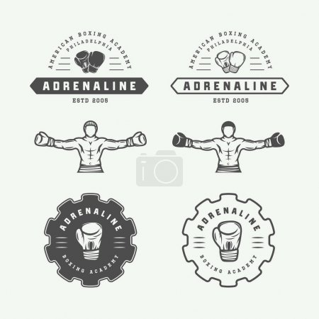 Set of vintage boxing and martial arts logo badges and labels