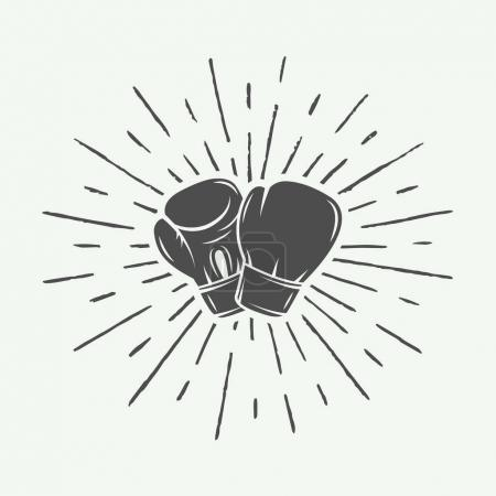 Boxing gloves in vintage style. Monochrome graphic Art.