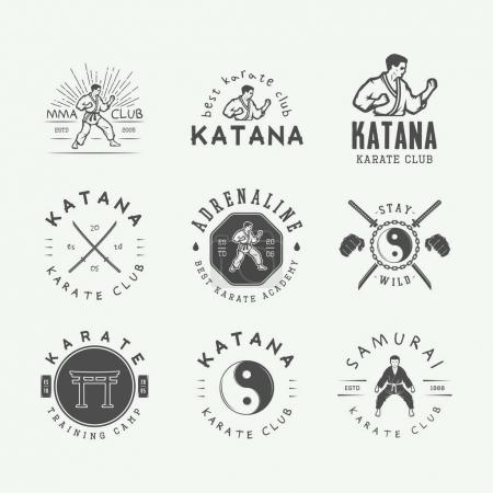 Set of vintage karate or martial arts logo, emblem, badge, label