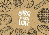 Set of vector bakery elements and handwritten lettering