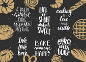 Set of bakery vector lettering with engraved elements