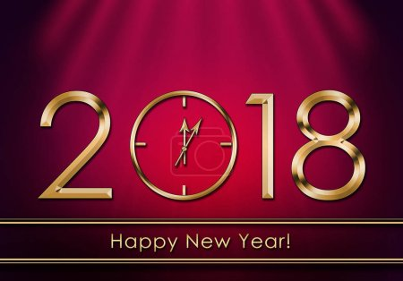 Photo for Happy New Year 2018. New Year Clock - Royalty Free Image