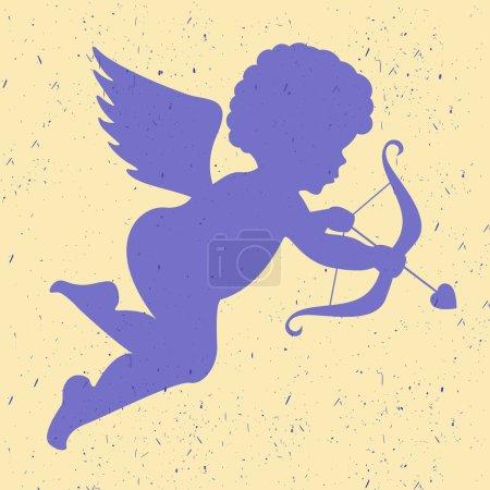 Illustration pour Silhouette d'ange sur fond clair - image libre de droit