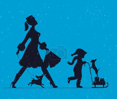 Woman with with a child and dogs. Mother doing shopping and walk