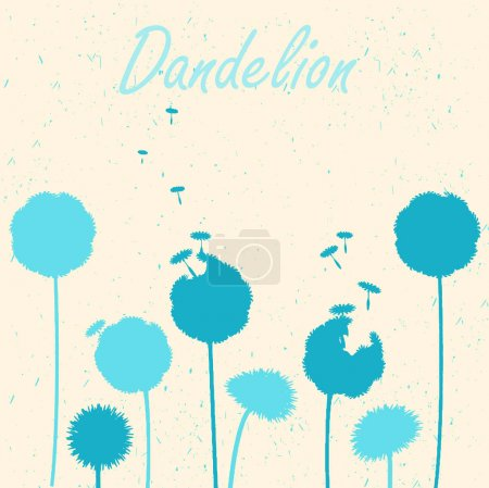 Dandelions on light background. Vector silhouette of dandelions