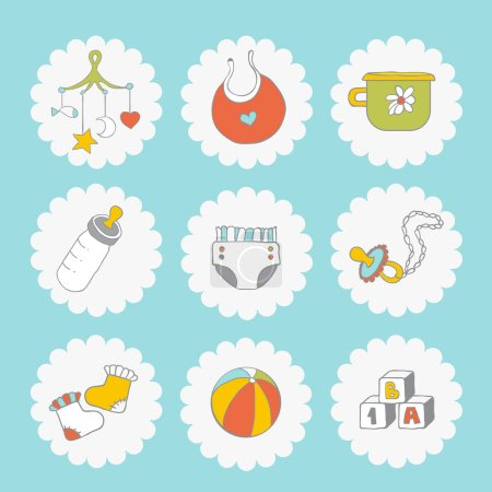 Baby icons set. Cute things on a blue background