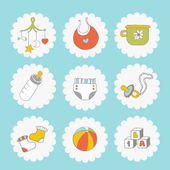 Baby icons set Cute things on a blue background