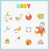 Baby icons set Cute  things on light background