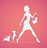 Vector silhouette of woman with dog Young  walking dogs Fashionista