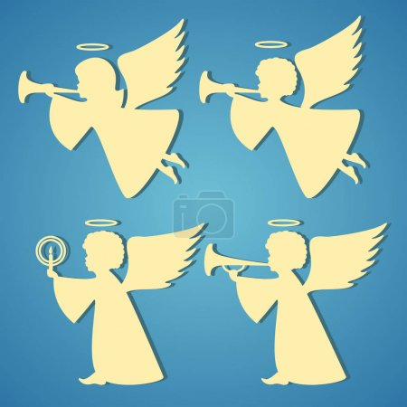 Gold silhouettes of angels on blue background