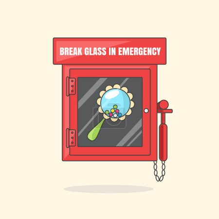 Illustration for Red emergency box with in case of emergency breakable glass. Box with beanbag - Royalty Free Image