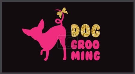 Pink dog silhouette with gold bow and gold letters. Logo for dog