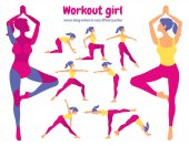 Body workout set Pack of body parts Woman doing fitness and yo