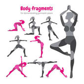 Pack of body parts Body workout set Woman doing fitness and yo