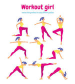 Body workout set Woman doing fitness and yoga exercises Pack o