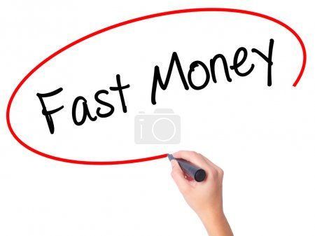 Women Hand writing Fast Money  with black marker on visual scree