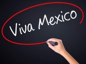 Woman Hand Writing Viva Mexico with a marker over transparent bo