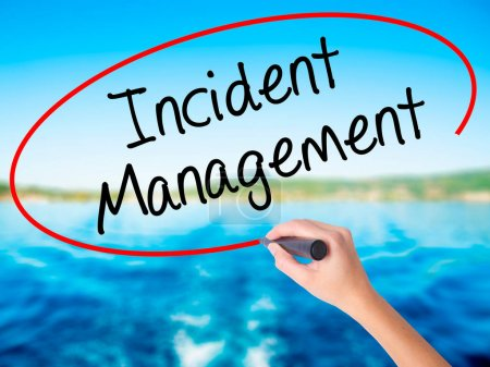 Woman Hand Writing Incident Management with a marker over transp