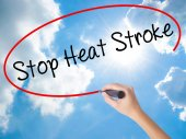 Woman Hand Writing Stop Heat Stroke with black marker on visual