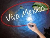 Woman Hand Writing Viva Mexico with marker over transparent boar