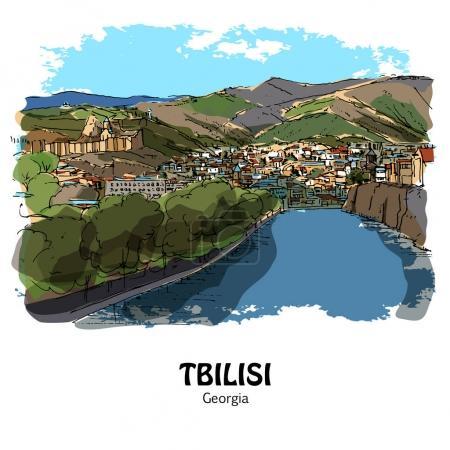 TBILISI, GEORGIA, NORTH CAUCASUS: Panoramic view to the old Tbilisi and Mtkvari river (Kura). Hand drawn sketch, illustration. Poster, postcard, calendar