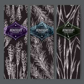 Three labels with lavender rosemary and lemongrass on black