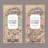 Two labels with Provence town landscape fennel and laurel sketch