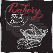Bakery template with hand lettering on black background