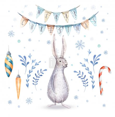 Watercolor hand drawn christmas cute illustrations gift collecti