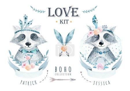 Watercolor boho floralelements with raccoon. Watercolour bohemia